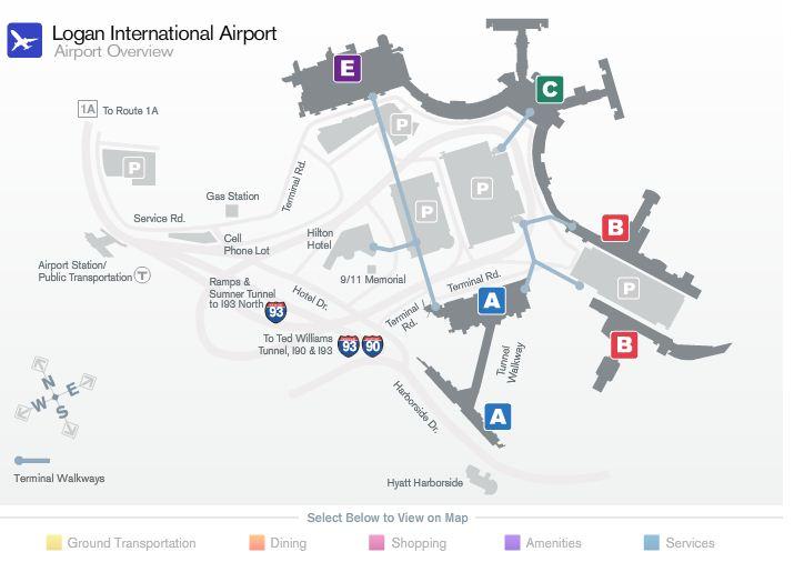 Аэропорт бостона схема